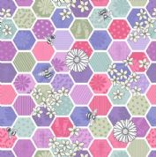Lewis & Irene - Bee Kind - 5785 - Honeycomb Floral Cerise & Lilac on White  - A283.3 - Cotton Fabric